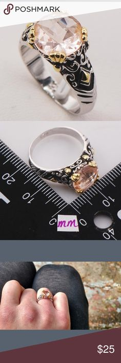 Beautiful Silver Morganite Fashion Ring This ring is as pretty as the pic it's NWT. The dealer said it's Sterling silver but I can't find the stamp. My price will reflect this. Jewelry Rings