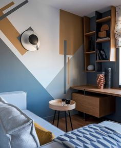 Bedroom Wall Designs, Accent Wall Bedroom, Bedroom Decor, Wall Paint Patterns, Paint Wall Design, Wall Painting Decor, Home Interior Design, Interior Wall Colors, Furniture Design