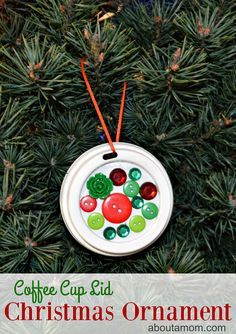 Upcycle your coffee cup lids into a festive Christmas ornament. Fun for kids!