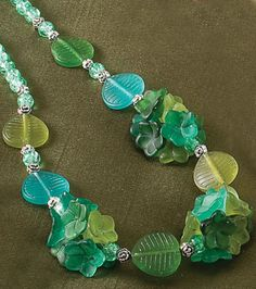 Flower and Leaf Beaded Necklace