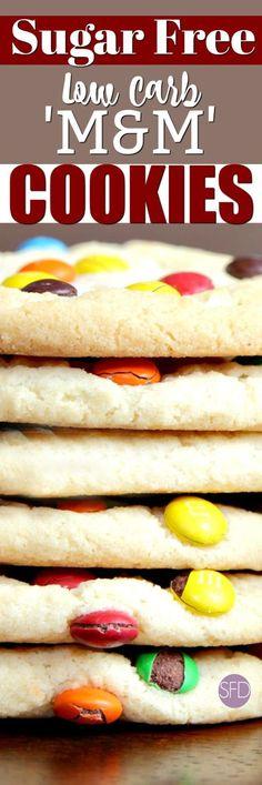 Sugar Free Low Carb 'M & M' Cookies - Zuckerfreie Kekse Sugar Free Deserts, Sugar Free Sweets, Sugar Free Cookies, Low Carb Sweets, Keto Cookies, Low Carb Desserts, Cookies Et Biscuits, Diabetic Cookies, Diabetic Cake