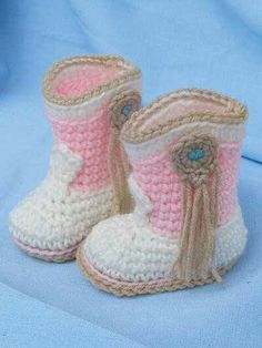 Crochet Baby Cowboy And Cowgirl Crochet Free Patterns - If you are on the hunt for a Crochet Cowboy Outfit Pattern, we have you covered. You'll love the Crochet Cowboy Hat, Crochet Cowboy Boots and more. Crochet Cowboy Boots, Baby Cowboy Boots, Crochet Baby Boots, Baby Girl Crochet, Crochet Baby Clothes, Crochet Slippers, Knitted Baby, Cowboy Outfits, Baby Patterns