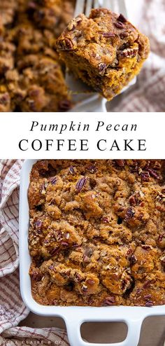 This must-try pumpkin pecan coffee cake is so delicious and full of fall flavors. It is easy to throw together for breakfast, snack or we even love it for dinner! Pumpkin Coffee Cakes, Moist Pumpkin Bread, Healthy Pumpkin, Baked Pumpkin, Pumpkin Dessert, Pumpkin Breakfast, Fall Breakfast, Breakfast Cake, Breakfast Recipes