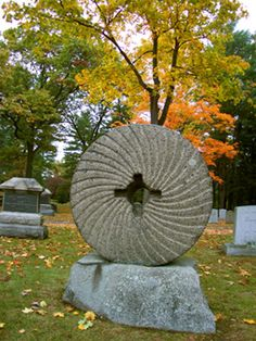 Millstone Headstone, Sleepy Hollow Cemetery, Sleepy Hollow, New York Cemetery Monuments, Cemetery Headstones, Old Cemeteries, Cemetery Art, Graveyards, Sleepy Hollow Cemetery, Memorial Stones, Danse Macabre, Places