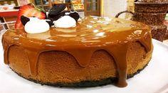 Cheesecake de dulce de leche con base de chocolate