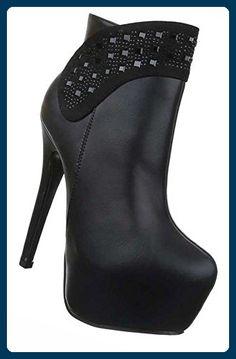 Damen Ankle Boots | Frauen-Stiefel High Heels Plateu Wadenhohe-Stiefel |  Schuhe Lederoptik