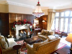 The cosy Red Drawing Room at Lough Eske Castle Donegal, Drawing Room, Cosy, Castle, Red, Christmas, Xmas, Drawing Rooms, Castles