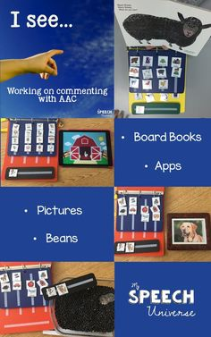 "Great ideas for working on commenting with AAC using ""I see."" You can make all sorts of core word work station boxes to go along with the core words you are teaching in your speech sessions. Vocabulary Activities, Speech Therapy Activities, Language Activities, Listening Activities, Book Activities, Speech Pathology, Speech Language Pathology, Speech And Language, Communication Book"
