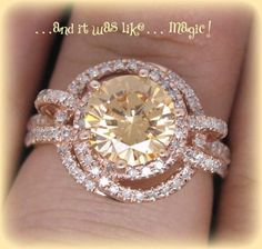 Morganite Engagement Ring This amazing ring features a rare mm champagne morganite set in a K rose gold diamond double halo setting The stone is a beautiful golden peachy color - April 13 2019 at Diamond Rings, Diamond Jewelry, Halo Diamond, Solitaire Rings, Band Rings, Gold Ring, Stone Rings, Silver Rings, Wedding Jewelry