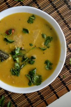 Gujarati style tortilla soup, where Indian bread - roti is simmered in lentil soup - amazing flavors - don't miss it! Tortilla Soup, Lentil Soup, Lentils, Thai Red Curry, Grains, Vegetables, Healthy, Ethnic Recipes, Food