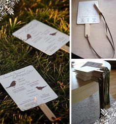 These multi-purpose programs provide guests a fan for the outdoor ceremony as well as a game of word search or mad libs (love the pencil attached with ribbon)