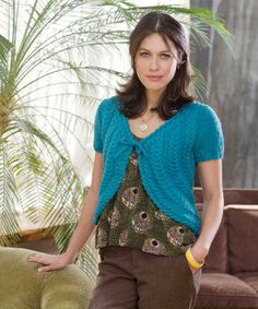 Free knitting pattern - Get Cabled Shrug by Alice Tang in Stitch Nation Bamboo Ewe (discontinued)