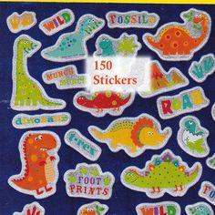 150 Stickers Dinosaurs Fossil Dinosaur T-Rex Roar Foil Glitter 3  Pkg Prizes #Greenbrier #BirthdayChild