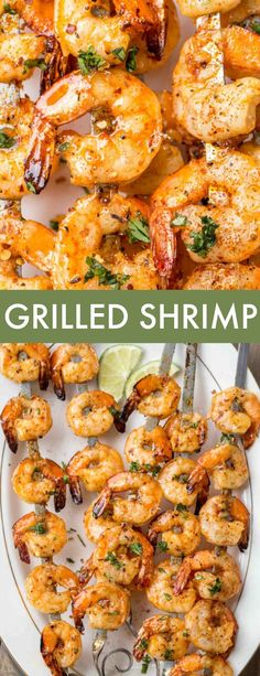 Grilled Shrimp Recipe in the easiest and BEST marinade! This shrimp, in a sweet and tangy honey garlic marinade, threaded on skewers and grilled, ready in just 15 minutes. #valentinascorner #grilled #shrimp #shrimprecipe #grilledshrimp #easydinner