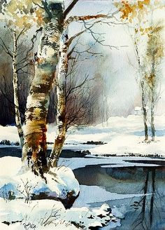 45 Best Painting landscape Winter Snow Scenes Ideas - Page 7 of 45 - Veguci Watercolor Trees, Watercolor Paintings, Watercolors, Painting Art, Painting Snow, Watercolor Artists, Watercolor Landscape Tutorial, Watercolor Christmas, Tree Paintings