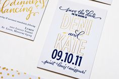 Navy + Gold Foil Calligraphy Wedding Invitations by Plurabelle and Kate Allen via Oh So Beautiful Paper (6)