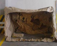 Begeleide of zelfstandige activiteit - Stone age art cave Stone Age Ks2, Stone Age Houses, School Projects, Art Projects, Prehistoric Age, Lascaux, Old Stone, Iron Age, Elementary Art