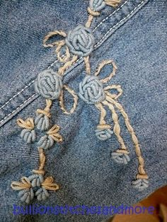 REVIVE AN OLD PAIR OF JEANS - SEW BULLION STITCH ROSES