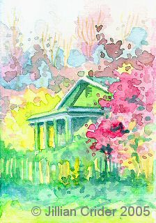 "ACEO-A109 ""Spring"" colorful impressionistic watercolor house in garden. © Jillian Crider 2.5x3.5"""