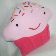 Happy CUPCAKE PILLOW in Cheery Cherry and by MarjorieDade on Etsy, $40.00