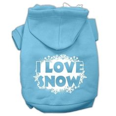 I Love Snow Screenprint Pet Hoodies Baby Blue Size L (14)
