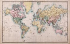 Vintage Map Of World.Vintage Map Of The World Print On Canvas For The Home World