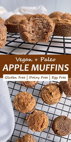 These healthy Applesauce Muffins make a great snack for babies and toddlers. They are gluten free, Paleo, Vegan friendly and don't contain any added sugar - only sweetened with applesauce. #applemuffins #toddlermuffins #allergyfriendly Paleo Muffin Recipes, Baby Food Recipes, Free Recipes, Vegan Recipes, Snack Recipes, Paleo Vegan, Vegan Snacks, Easy Snacks, Healthy Meals For Kids
