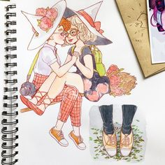 """6,356 Likes, 27 Comments - Alisa Vysochina (@alisavysochina) on Instagram: """"Sketchbook doodles of my favorite witch girlfriends and cute shoes referenced from @sailorhg photo…"""""""