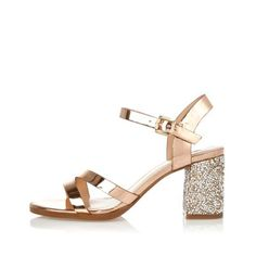 I'm shopping Gold glitter block heel sandals in the River Island iPhone app.