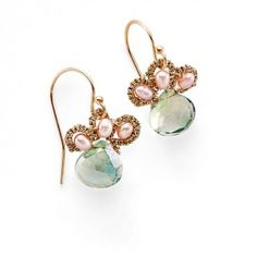 Danielle Welmond Green Amethyst Earrings  A healing and purifying stone, green amethyst stimulates the lungs and breath.
