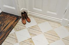 white squares painted on wood floors | I love this!