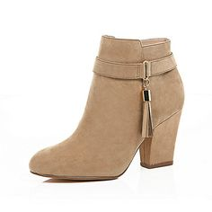 Light brown tassel trim ankle boots - ankle boots - shoes / boots - women