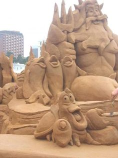 """Whimsical sand sculpture of King Tritan ,Sebastian and Friends from the movie """"The Little Mermaid"""" Snow Sculptures, Metal Sculptures, Modern Sculpture, Abstract Sculpture, Wood Sculpture, Bronze Sculpture, Ice Art, Snow Art, Grain Of Sand"""