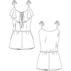 {Illustrator Stuff} Women's Frill Jumpsuit Illustrator Fashion Flat Template