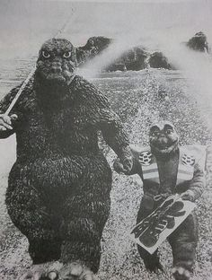 Finally, an illustration for the Monster Kid's epic stories about Mommy Godzilla and Baby Godzilla. He is dictating an entire series of epic adventures for them.