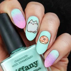 In seek out some nail designs and ideas for your nails? Listed here is our set of must-try coffin acrylic nails for trendy women. Cute Acrylic Nail Designs, Best Acrylic Nails, Nail Art Designs, Pretty Nail Art, Cute Nail Art, Pusheen, Nails For Kids, Kawaii Nails, Cat Nails