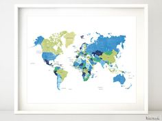Printable world map with countries & names, distressed vintage travel art, nursery print, lime green blue, baby boy nursery art -map138 by blursbyaiShop, $4.90