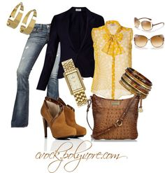 """Navy and Yellow"" by cvock on Polyvore"