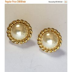 Large Vintage White Faux Pearl Clip On Earrings in Fancy Gold Tone... (£12) ❤ liked on Polyvore featuring jewelry, earrings, clip back earrings, champagne earrings, fancy jewelry, gold colored earrings and imitation pearl earrings