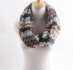 Coffee wave stripe zig zag chevron infinity by blackbeanblackbean, $7.56