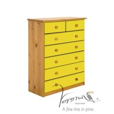 Verona Design Verona 5+2 Drawer Chest in Antique Pine and Lime