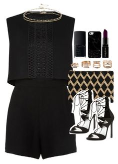 """Outfit with a playsuit for a night out"" by ferned ❤ liked on Polyvore featuring Maje, Stuart Weitzman, ASOS, NARS Cosmetics, Forever 21, Casetify, Smashbox, women's clothing, women and female"