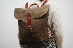 waxed canvas rucksack snuff brown charcoal door NATURALHERITAGEBAGS