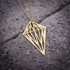 Gold diamond necklace, geometric necklace, gold #jewelry #necklace @EtsyMktgTool http://etsy.me/2gFcyx8