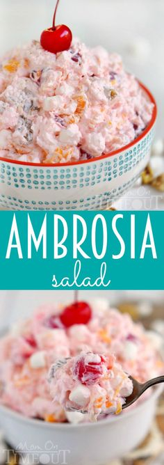 One of my favorite desserts of all time - Ambrosia Salad! So easy to make and always a big hit with kids and adults alike, make sure to put this salad recipe on the menu for your next party! | MomOnTimeout.com | #recipe