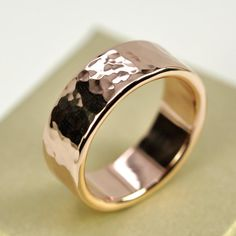 14K Rose Gold Mens Wedding Band Hammered Gold by seababejewelry