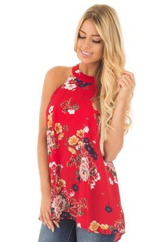 Lime Lush Boutique - Red Floral Print Halter Tank with Keyhole Back Detail, $34.99 (https://www.limelush.com/red-floral-print-halter-tank-with-keyhole-back-detail/)