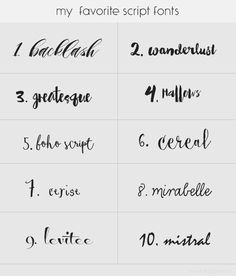 My favorite script fonts Typography Fonts, Graphic Design Typography, Best Cursive Fonts, Heart Font, Hand Lettering Alphabet, Magazine Layout Design, Letters, My Favorite Things, Modern Calligraphy