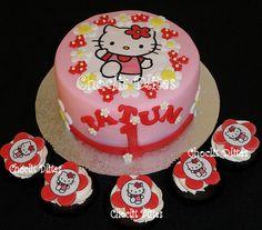 chocolate sponge with HK edible print & fondant flowers Photo Cakes, Edible Printing, Chocolate Sponge, Fondant Flowers, Birthday Cake, Desserts, Food, Tailgate Desserts, Deserts