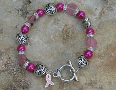 Breast Cancer Awareness Bracelet by cassiesliltreasures on Etsy, $12.00